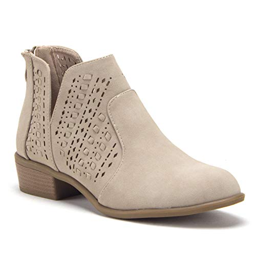 Women's Essie Laser Cut V-Cut Open Side Zipped Nubuck Ankle High Boots