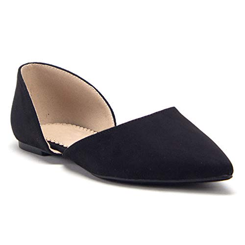 Women's Hedy-02 Pointed Toe Slip On D'Orsay Cut Out Ballet Flats Shoes