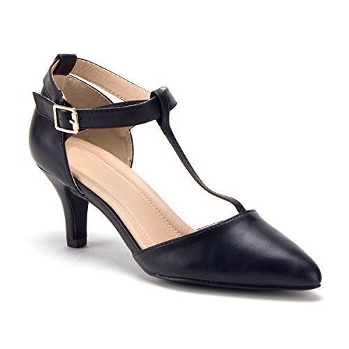 Women's Ellie T-Strap Pointy-Toe Pumps Kitty Heels Dress Shoes - Jazame, Inc.