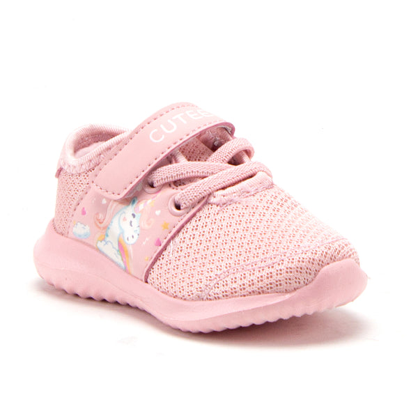 Toddler Little Girls Unicorn Faux Lace Easy On School Sports Shoes Sneakers - Jazame, Inc.