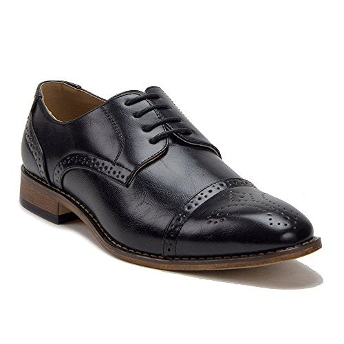 Men's VW131 Semi-Brogue Perforated Cap Toe Dress Oxfords Shoes - Jazame, Inc.