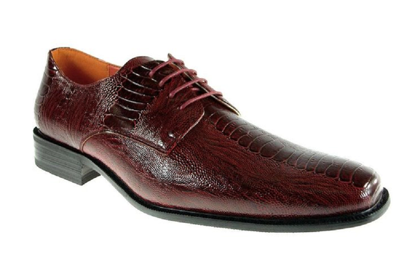 Mens Ferro Aldo Faux Gator Skin Lace Up Oxfords Shoes 109180 Wine-256 - Jazame, Inc.