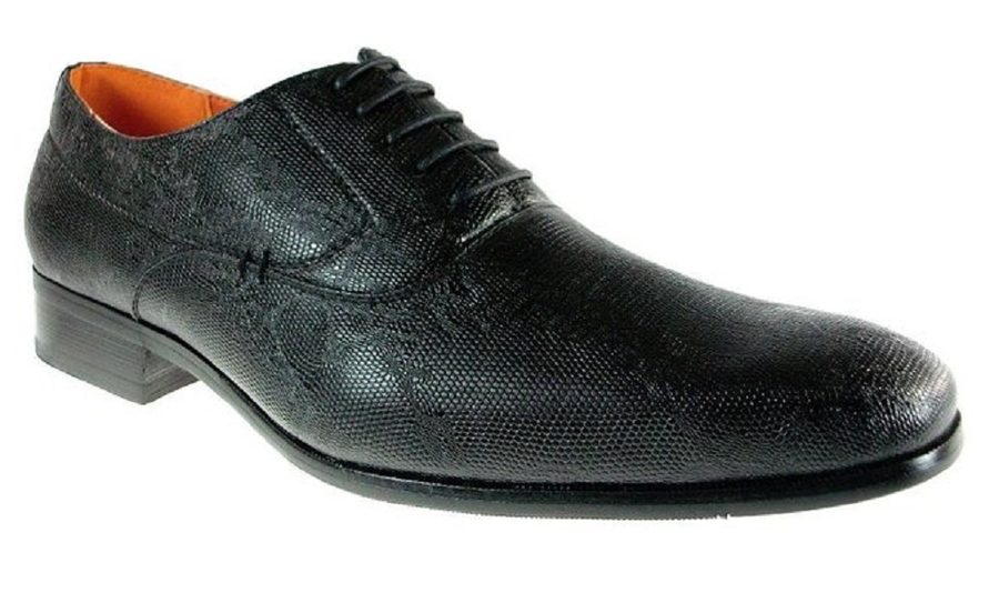 Mens Ferro Aldo Faux Snake Skin Lace Up Oxfords Shoes 109181 Black-233 - Jazame, Inc.