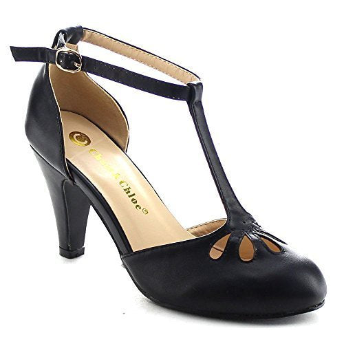 Women's Kimmy-36 Teardrop Cut Out T-Strap Mid Heel Dress Pumps - Jazame, Inc.