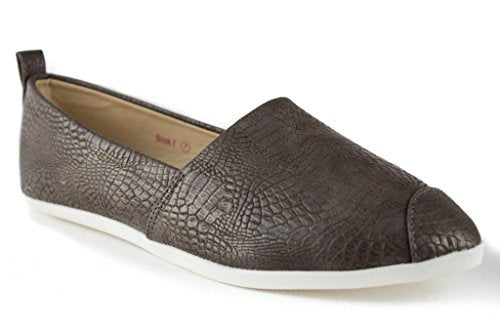 Women's Brook-1 Animal Textured Slip On Smoking Flats Shoes