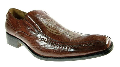 Mens Delli Aldo Tribal Design Side Stitching Loafers Shoes 18655 Brown-79