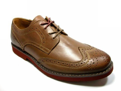 GBX Mens Zevon Lace Up Wing Tip Oxford Light Brown Leather Dress Casual Shoes - Jazame, Inc.