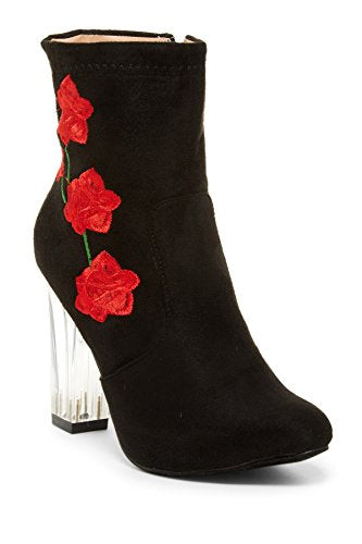 Women's Clarity-7 Designer Floral Print Clear Lucite Heel Tall Ankle Boots - Jazame, Inc.