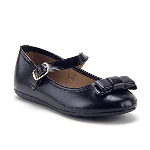 Girls FWD-13K Mary Jane Flats Round Toe Metallic Bow Dress Shoes - Jazame, Inc.