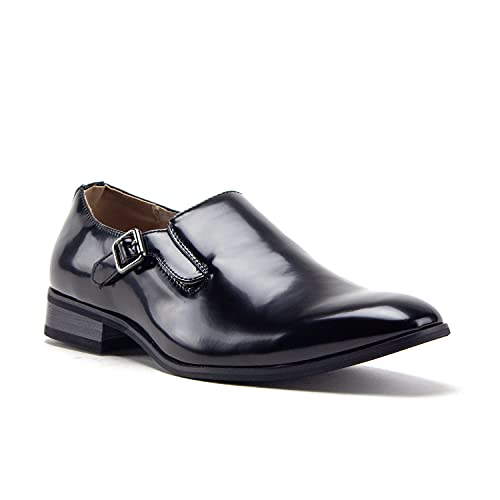 Men's 77807 Slip On Round Toe Hand Burnished Loafers, Dress Shoes