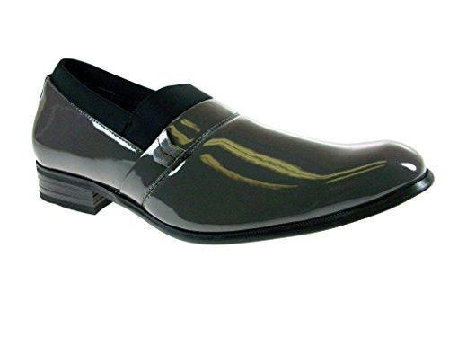 551376bd2 Delli Aldo Men s 19238P-Gray Patent Leather Slip on Loafers Stretch ...
