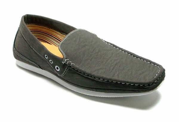 Mens Polar Fox Moccasin Slip On Casual Loafers Shoes 30186 Gray-363 - Jazame, Inc.
