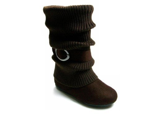Girls Daysi-K Brown Tall Ruched Fold Over Knit Boots - Jazame, Inc.