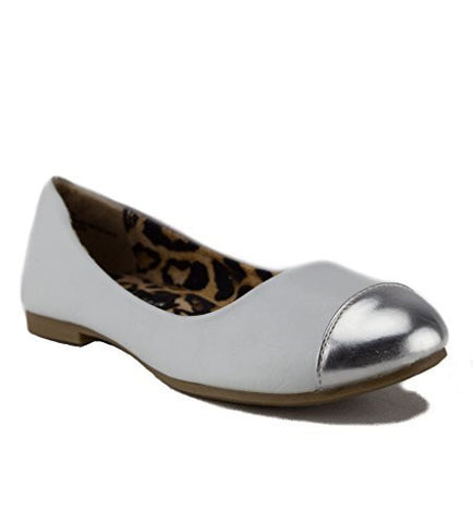 Girls Leatherette Silver Cap Toe  Slip On Flats  White & Silver