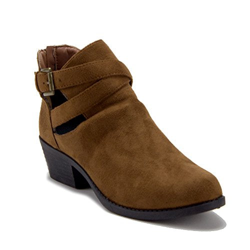 Women's BAL-05W Cut Out Belted Slip On Ankle High Suede Boots - Jazame, Inc.