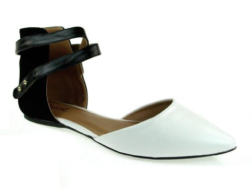 Women's Pointer-70 Black & White Ankle Wrap Ballet Flats Shoes - Jazame, Inc.