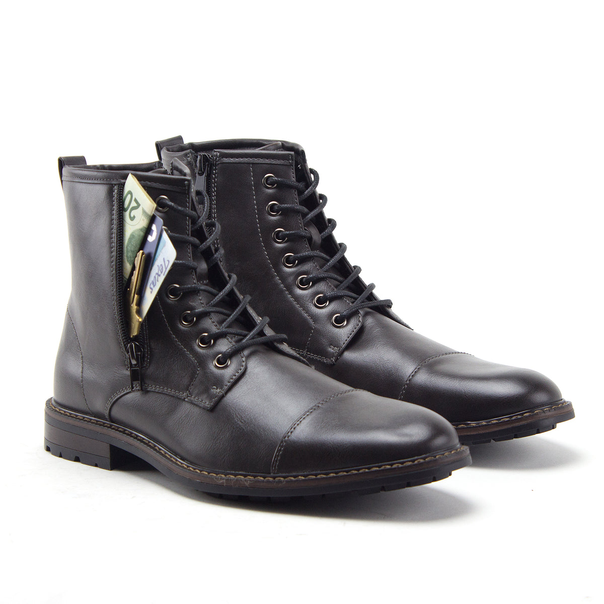Jazamé Men's Stealth Distressed Secret Pocket Storage Military Combat Dress Boots - Jazame, Inc.