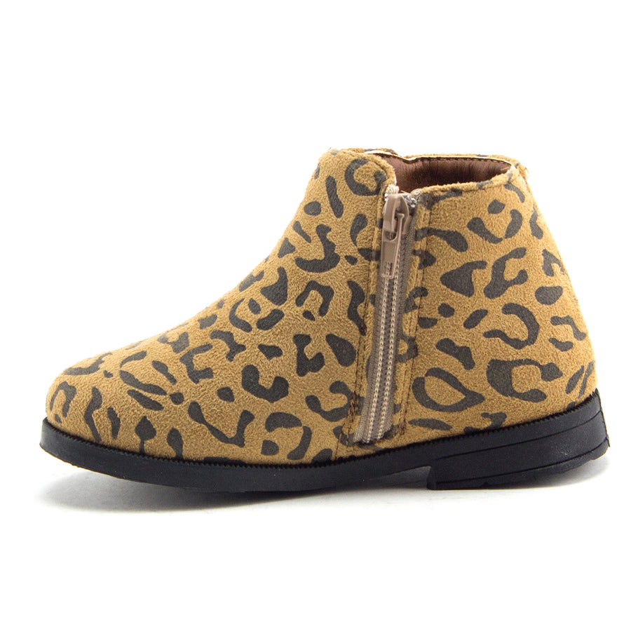 Little Toddler Girls' Ankle High Leopard Print Booties Zipped Fashion Dress Boots - Jazame, Inc.