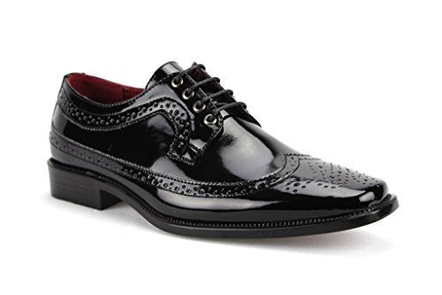 New Men's Tuxi 02 Formal Wing Tip Patent Leather Dress Oxford Shoes - Jazame, Inc.
