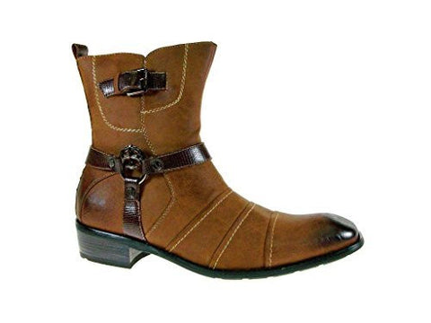 Delli Aldo Men's 811 Western Cross Buckle Calf Boots