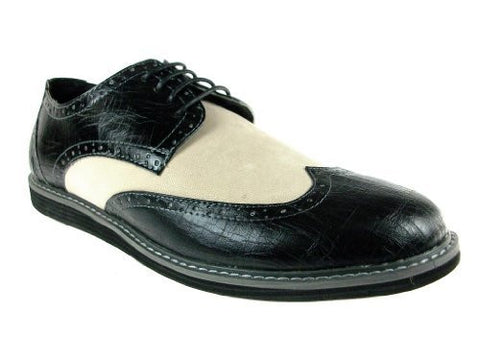 iMarc Men's Banker Two Tone Wing Tip Oxfords
