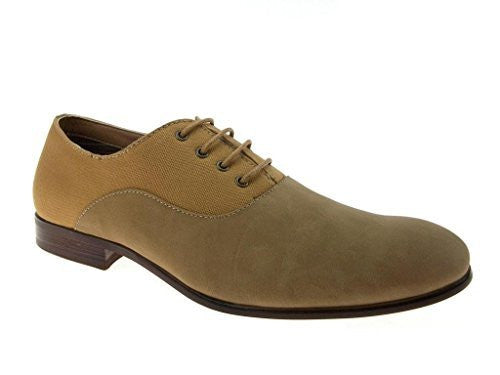Ferro Aldo Men's 139255A Combined Denim Lace Up Oxfords Dress Shoes - Jazame, Inc.