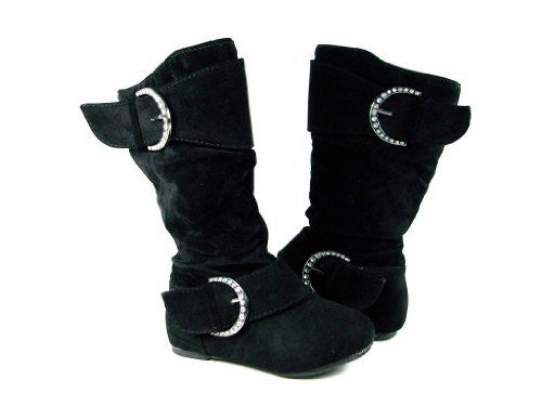 Girls Destiny-I Toddlers Studded Buckle Full Zipper Suede Boots - Jazame, Inc.