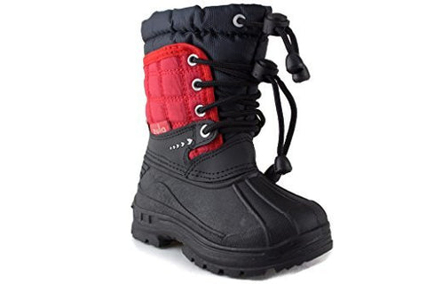 Toddler Boys Zula BHD08-I Two Tone Pull Tie Lace Water Resistant Winter Snow Boots