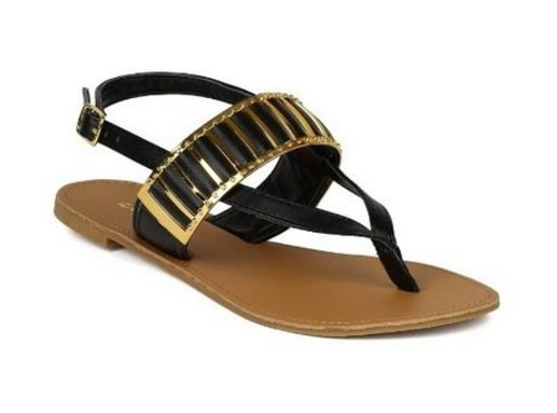Women's Athena-755 Thong-Style Metallic Accent Sandals - Jazame, Inc.