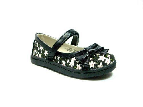 Toddler Girls Floral Design Velcro Closure Mary Jane Flats - Jazame, Inc.