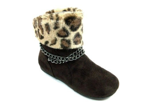 Girls Chain Design Faux Leopard Fur Ankle High Suede Boots - Jazame, Inc.