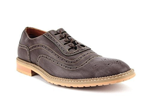Ferro Aldo Mens 19385LE Contrast Stitch Perforated Lace Up Oxfords Dress Shoes - Jazame, Inc.