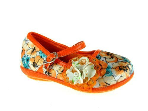 Girls 253 Floral Mary Jane Charm Flat Shoes - Jazame, Inc.