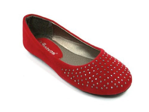 Girls Ositos Round Studded Toe Suede Ballerina Flats