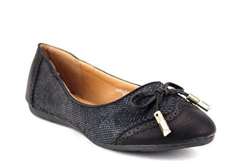 Women's Londena Snake Textured Wing Tip Ballet Flats Shoes - Jazame, Inc.