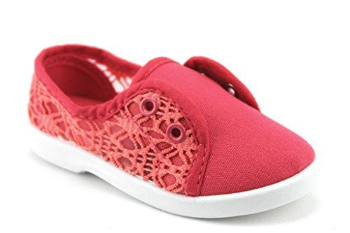 Girls Cutie-30I Slip On Lace Canvas Sneakers Shoes - Jazame, Inc.
