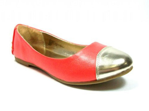 Girls Leatherette Gold Cap Toe & Studded Heel Slip On Flats Coral - Jazame, Inc.