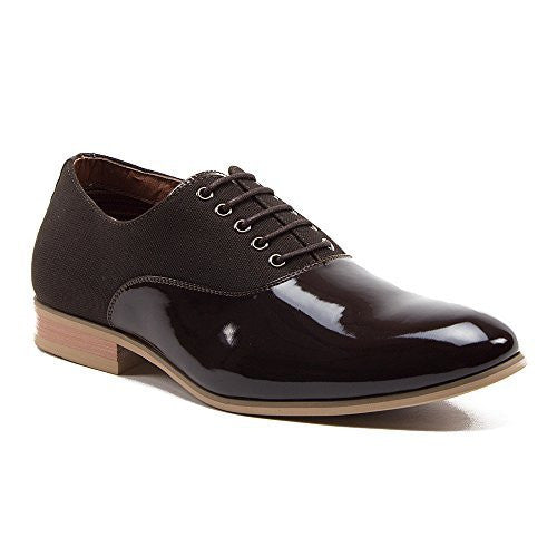 Ferro Aldo Men's 19529PLE Patent Leather Combined Casual Dress Oxfords Shoes - Jazame, Inc.
