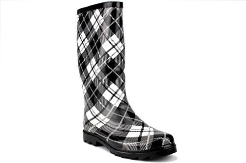 Women's Rubberboot Calf High Plaid Design Rain Boots