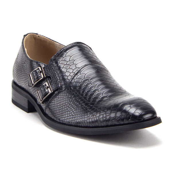 Men's 89473 Exotic Snake Croc Print Slip On Monk Strap Loafers Dress Shoes - Jazame, Inc.
