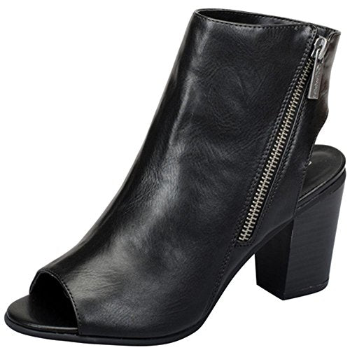 Women's Open Back Asymmetrical Zipper Peep Toe Bootie - Jazame, Inc.