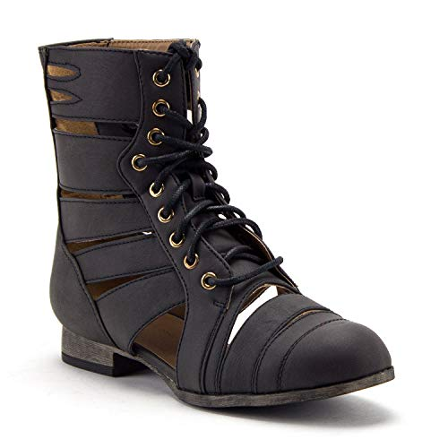 Women's Tosca-124A Tall Calf High Lace Up Cut Out Strappy Military Dress Boots - Jazame, Inc.