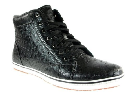 Men's Ferro Aldo Hi-Top Faux Ostrich Lace Up Sneakers Boots 5077 Black-272