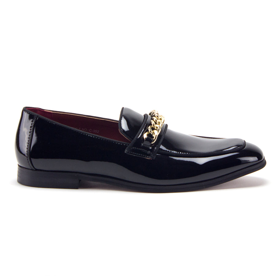 Men's D-463 Gold Chain Loafers Slip On Patent Leather Red Sole Dress Shoes - Jazame, Inc.