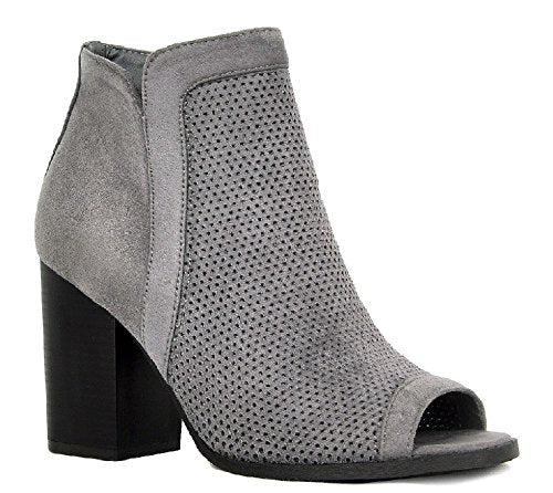 Women's Debra-01 Peep Toe Block Heel Ankle High Zipped Boots - Jazame, Inc.