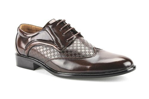 New Men's W2015-6 Checkered Wing Tip Oxford Shoes - Jazame, Inc.
