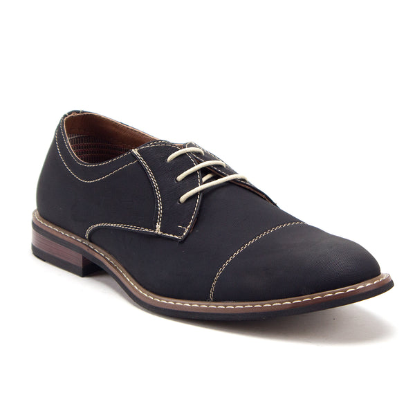 Men's Classic Round Cap Toe Oxfords Contrast Stitched Dress Shoes - Jazame, Inc.