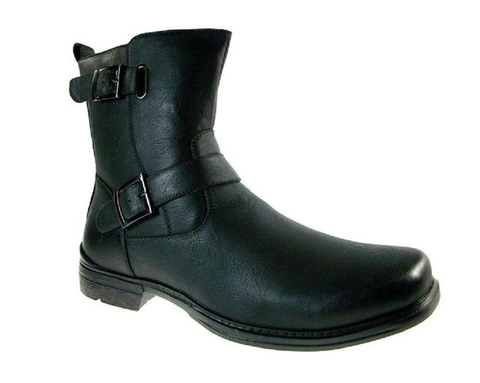 Men's Polar Fox Double Buckle Calf High Casual Dress Boot 697 Black-162