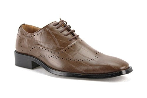 New Men's W2015-4 Formal Pin Striped Wing Tip Oxford Shoes - Jazame, Inc.