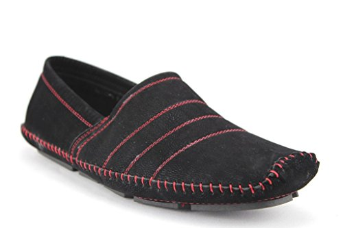 New Men's M4010-6 Moccasin Suede Contrast Stitch Loafer Shoes - Jazame, Inc.